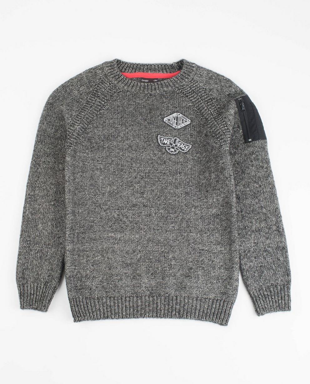 Pull gris en tricot - avec des écussons - JBC